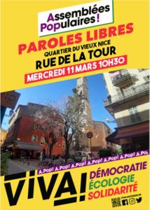 Assemblée Populaire - Vieux Nice @ Rue de la Tour